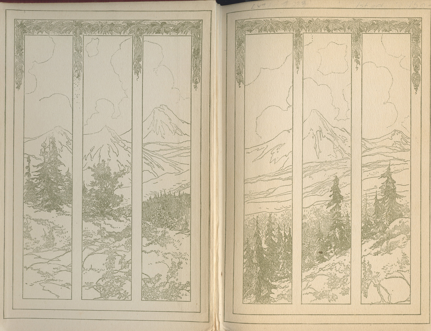 Endpages depicting the forest and mountains around the mining camp.