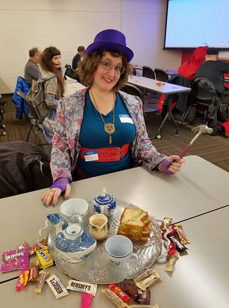 I won second place in the costume contest with my Mad Hatter. Mainly cause I brought the tea party with me and kept asking people if they wanted one lump or two with their tea, brandishing that lovely hammer which color coordinated with my skirt.